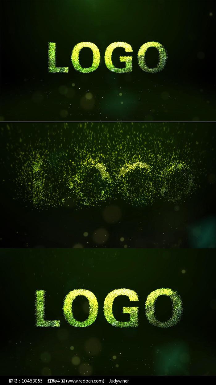 炫酷梦幻环保黄绿粒子logo演绎视频模板图片