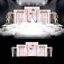 浅粉色大理石纹婚礼效果图设计浪漫婚庆