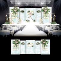 浅绿色小清新婚礼效果图设计大理石婚庆