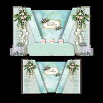 森系大理石纹婚礼效果图水彩婚庆背景