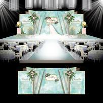森系水彩婚礼效果图设计大理石纹婚庆