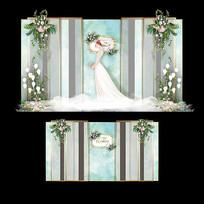 森系水彩主题婚礼大理石婚庆迎宾区背景