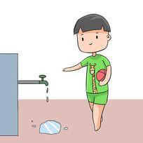 手绘文明城市节约用水公益漫画插画元素