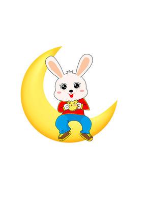 卡通兔子吃月饼