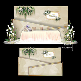 香槟色复古婚礼设计大理石纹婚庆背景