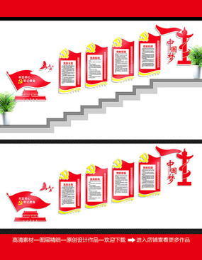 党员活动室楼梯文化墙展板