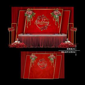 红金色婚礼效果图设计大理石纹婚庆背景