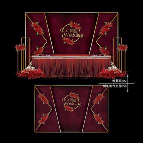 酒红色金色复古婚礼效果图设计婚庆背景