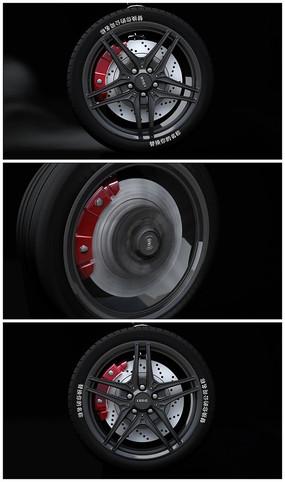 汽车车轮旋转微信小视频广告模板