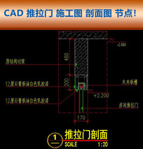CAD推拉门施工图剖面图节点大样