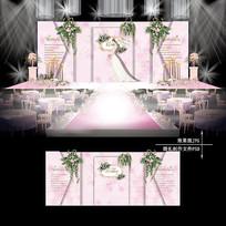 白粉色大理石纹主题婚礼婚庆设计背景板