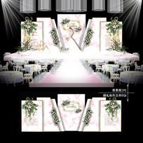 白粉色大理石主题婚礼婚庆背景半