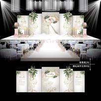 白金色花纹婚礼效果图设计婚庆展板