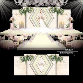 白金色欧式复古婚礼大理石纹婚庆背景板