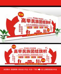 精美民族团结标语党建活动室文化墙设计