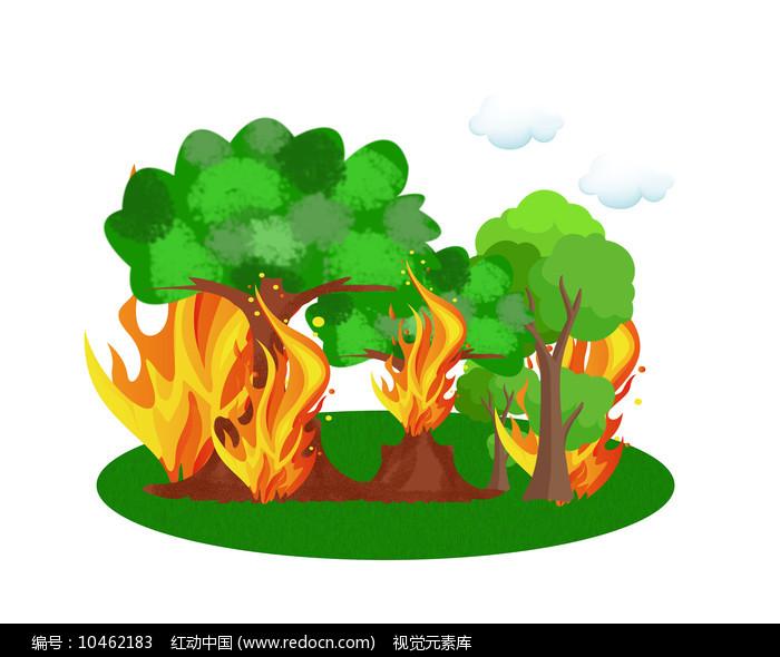森林着火原创漫画图片