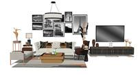 现代轻奢客厅沙发茶几电视柜组合