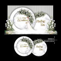 欧式大理石婚礼效果图设计小清新婚庆背景