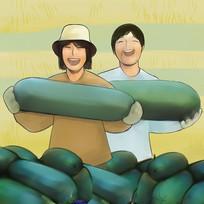 手绘朴素农民抱冬瓜开心喜悦大丰收插画