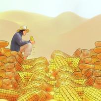 手绘朴素农民刨玉米玉米地五谷杂粮插画