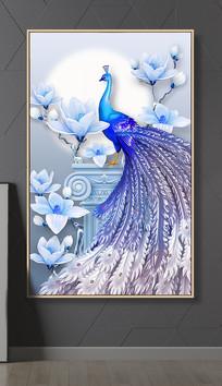 新中式3D孔雀玉兰花浮雕立体玄关装饰画