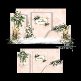 香槟色欧式复古婚礼大理石纹婚庆背景