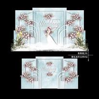 小清新水彩婚礼效果图设计韩式婚庆背景