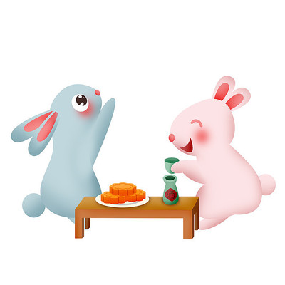 原创元素清新兔子吃月饼