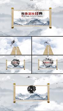 大气震撼水墨卷轴片头AE模板