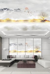 新中式古典水墨背景墙