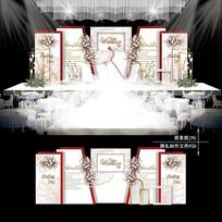 红白色主题婚礼效果图设计婚庆背景
