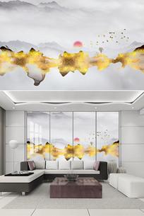 金色现代新中式电视背景墙