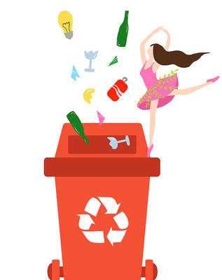 垃圾分类素材跳舞小女孩插画垃圾桶元素