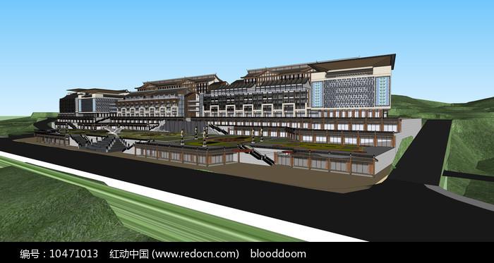 民族风格中式商业街 超精细SU模型图片