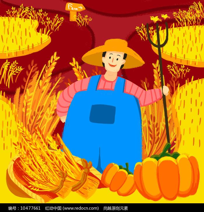 原创手绘农民农耕收割稻谷小麦插画