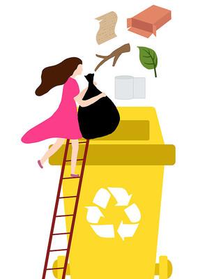原创小女孩扔垃圾元素垃圾分类插画素材