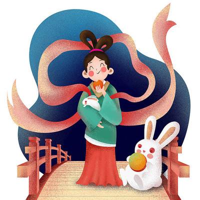 原创元素中秋嫦娥与兔子吃月饼