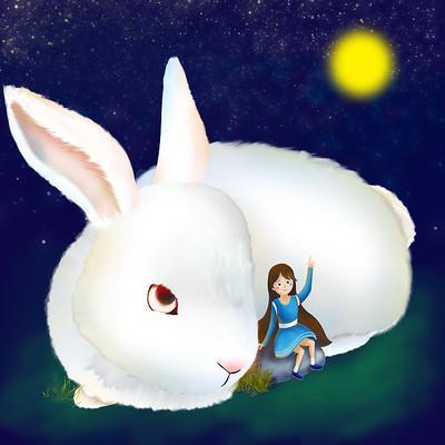原创元素中秋女孩兔子赏月