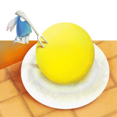 原创元素中秋兔子吃月饼