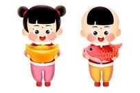 原创元素祝福新年福娃人物卡通