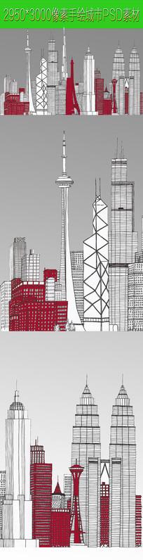 城市抽像手绘PSD文件