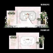 浅粉色大理石纹婚礼效果图设计婚礼背景