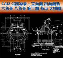 CAD公园凉亭立面图剖面图八角亭施工图