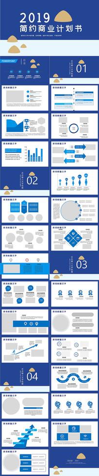 蓝色创业计划书PPT模板