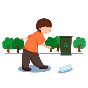 手绘捡垃圾到垃圾桶的男孩节约能源插画元素