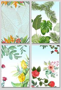 夏季手绘叶子花卉设计素材