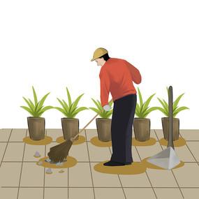 6s管理企业文化工人清扫垃圾插画