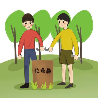 6s管理企业文化有素养的小男孩扔垃圾插画
