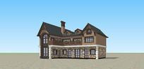 欧式西班牙风格农村自建房SU模型