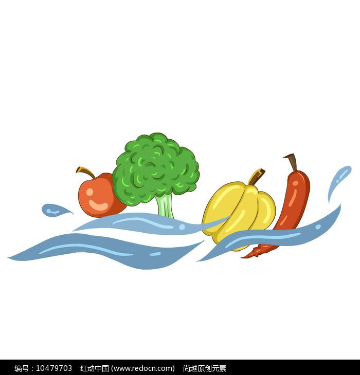 手绘新鲜果蔬创意绿色健康食堂文化插画元素图片